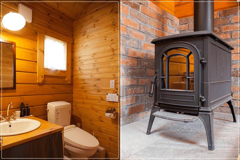 山梨県八ヶ岳のログハウストイレ、暖炉